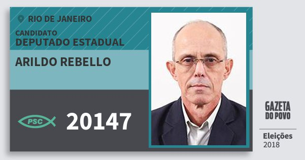 Santinho Arildo Rebello 20147 (PSC) Deputado Estadual | Rio de Janeiro | Eleições 2018
