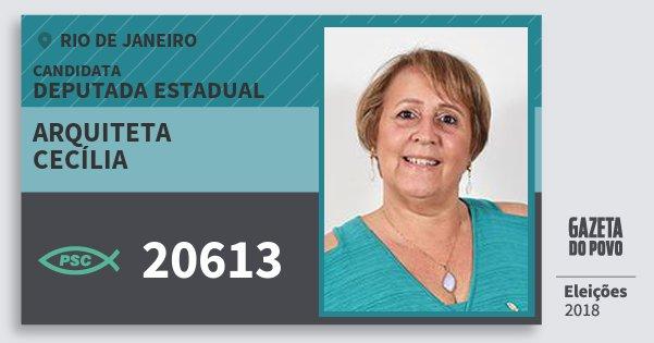 Santinho Arquiteta Cecília 20613 (PSC) Deputada Estadual | Rio de Janeiro | Eleições 2018