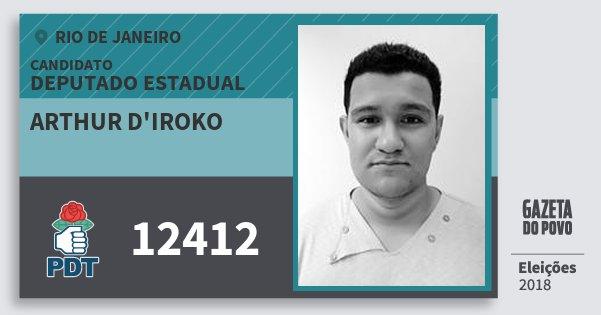 Santinho Arthur d'Iroko 12412 (PDT) Deputado Estadual | Rio de Janeiro | Eleições 2018