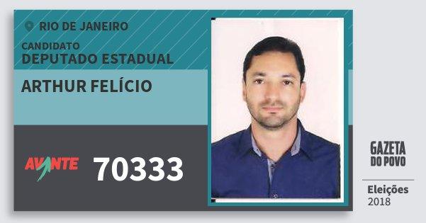 Santinho Arthur Felício 70333 (AVANTE) Deputado Estadual | Rio de Janeiro | Eleições 2018