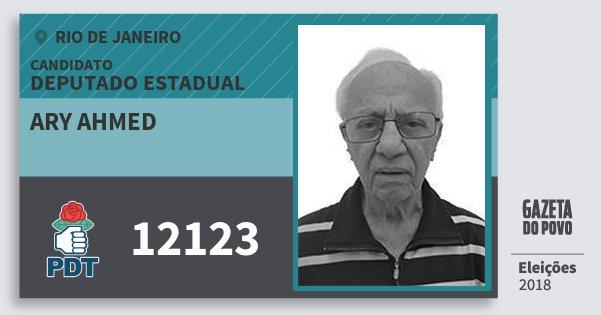 Santinho Ary Ahmed 12123 (PDT) Deputado Estadual | Rio de Janeiro | Eleições 2018
