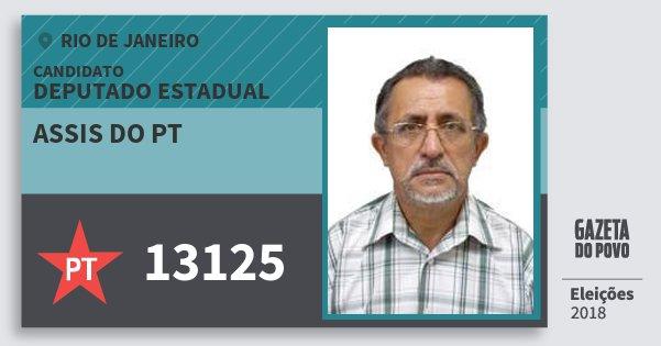 Santinho Assis do Pt 13125 (PT) Deputado Estadual | Rio de Janeiro | Eleições 2018