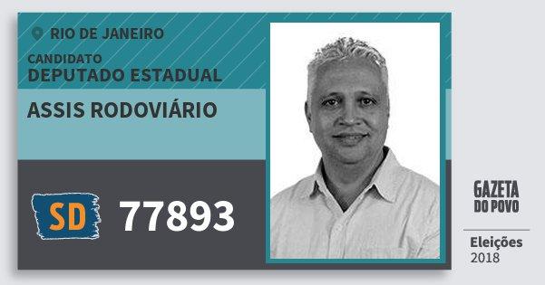 Santinho Assis Rodoviário 77893 (SOLIDARIEDADE) Deputado Estadual   Rio de Janeiro   Eleições 2018