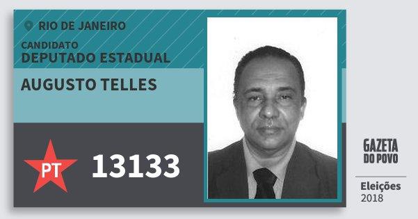Santinho Augusto Telles 13133 (PT) Deputado Estadual | Rio de Janeiro | Eleições 2018