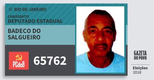 Santinho Badeco do Salgueiro 65762 (PC do B) Deputado Estadual | Rio de Janeiro | Eleições 2018