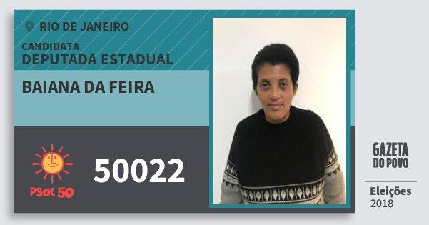 Santinho Baiana da Feira 50022 (PSOL) Deputada Estadual | Rio de Janeiro | Eleições 2018
