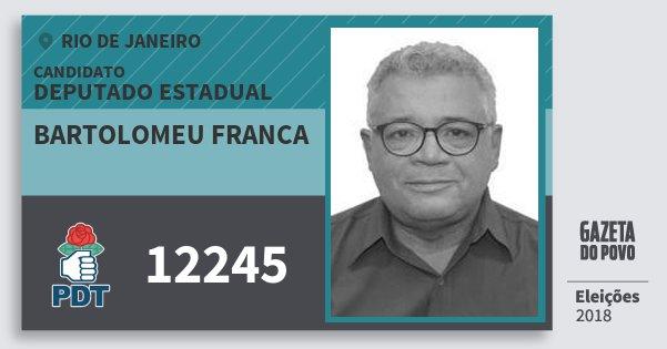 Santinho Bartolomeu Franca 12245 (PDT) Deputado Estadual | Rio de Janeiro | Eleições 2018