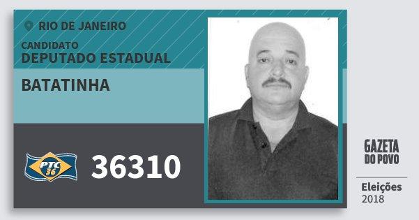 Santinho Batatinha 36310 (PTC) Deputado Estadual | Rio de Janeiro | Eleições 2018