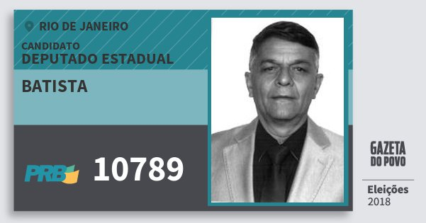 Santinho Batista 10789 (PRB) Deputado Estadual | Rio de Janeiro | Eleições 2018