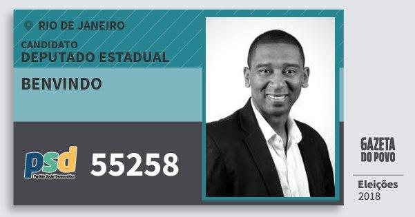 Santinho Benvindo 55258 (PSD) Deputado Estadual | Rio de Janeiro | Eleições 2018