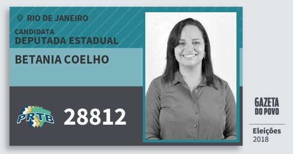 Santinho Betania Coelho 28812 (PRTB) Deputada Estadual | Rio de Janeiro | Eleições 2018
