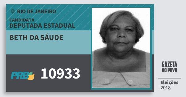 Santinho Beth da Sáude 10933 (PRB) Deputada Estadual | Rio de Janeiro | Eleições 2018