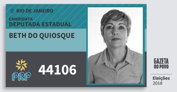 Santinho Beth do Quiosque 44106 (PRP) Deputada Estadual | Rio de Janeiro | Eleições 2018