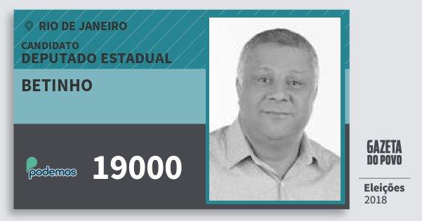 Santinho Betinho 19000 (PODE) Deputado Estadual   Rio de Janeiro   Eleições 2018