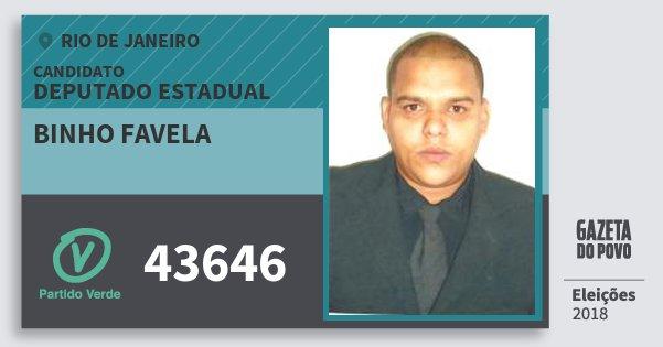 Santinho Binho Favela 43646 (PV) Deputado Estadual | Rio de Janeiro | Eleições 2018