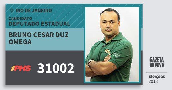 Santinho Bruno Cesar Duz Omega 31002 (PHS) Deputado Estadual | Rio de Janeiro | Eleições 2018