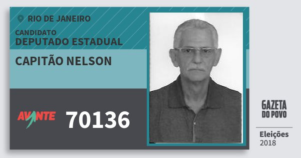 Santinho Capitão Nelson 70136 (AVANTE) Deputado Estadual | Rio de Janeiro | Eleições 2018