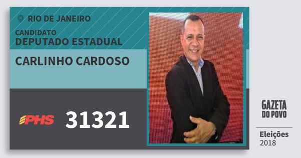 Santinho Carlinho Cardoso 31321 (PHS) Deputado Estadual | Rio de Janeiro | Eleições 2018