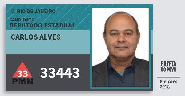 Santinho Carlos Alves 33443 (PMN) Deputado Estadual | Rio de Janeiro | Eleições 2018