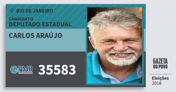 Santinho Carlos Araújo 35583 (PMB) Deputado Estadual | Rio de Janeiro | Eleições 2018