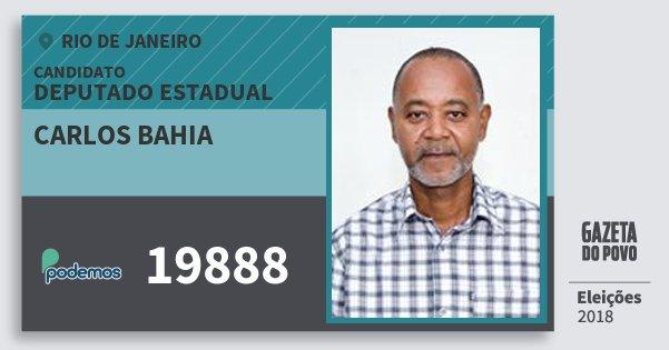 Santinho Carlos Bahia 19888 (PODE) Deputado Estadual | Rio de Janeiro | Eleições 2018