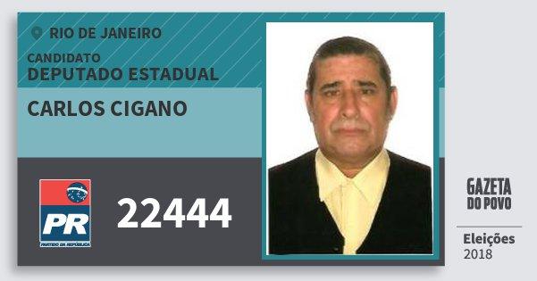 Santinho Carlos Cigano 22444 (PR) Deputado Estadual | Rio de Janeiro | Eleições 2018