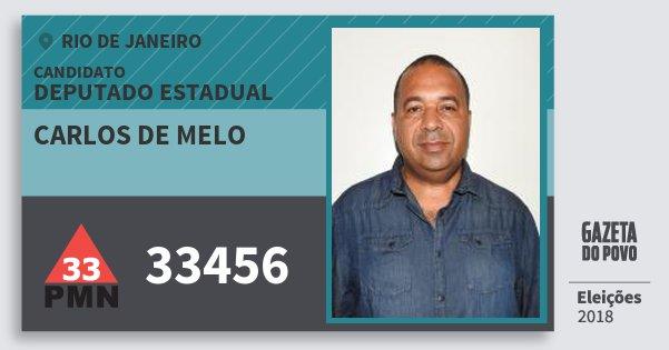 Santinho Carlos de Melo 33456 (PMN) Deputado Estadual | Rio de Janeiro | Eleições 2018