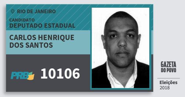 Santinho Carlos Henrique dos Santos 10106 (PRB) Deputado Estadual | Rio de Janeiro | Eleições 2018