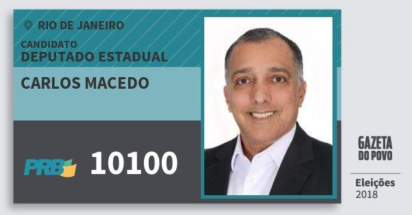 Santinho Carlos Macedo 10100 (PRB) Deputado Estadual | Rio de Janeiro | Eleições 2018