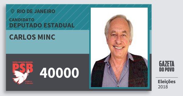 Santinho Carlos Minc 40000 (PSB) Deputado Estadual | Rio de Janeiro | Eleições 2018