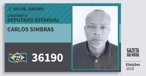 Santinho Carlos Simbras 36190 (PTC) Deputado Estadual | Rio de Janeiro | Eleições 2018