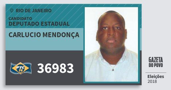 Santinho Carlucio Mendonça 36983 (PTC) Deputado Estadual | Rio de Janeiro | Eleições 2018