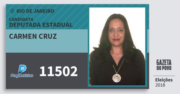 Santinho Carmen Cruz 11502 (PP) Deputada Estadual | Rio de Janeiro | Eleições 2018