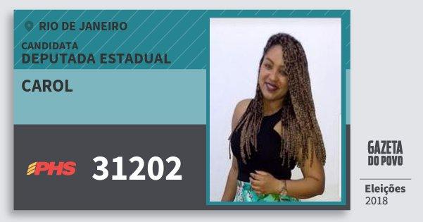 Santinho Carol 31202 (PHS) Deputada Estadual | Rio de Janeiro | Eleições 2018
