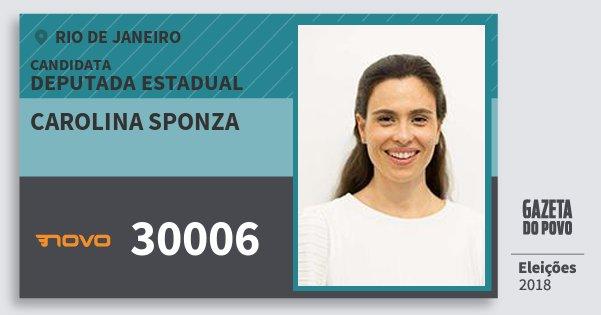 Santinho Carolina Sponza 30006 (NOVO) Deputada Estadual | Rio de Janeiro | Eleições 2018