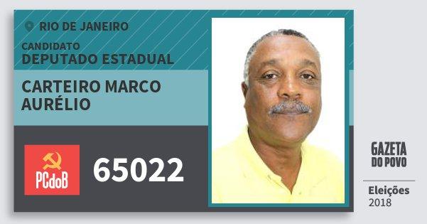 Santinho Carteiro Marco Aurélio 65022 (PC do B) Deputado Estadual | Rio de Janeiro | Eleições 2018