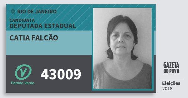 Santinho Catia Falcão 43009 (PV) Deputada Estadual | Rio de Janeiro | Eleições 2018