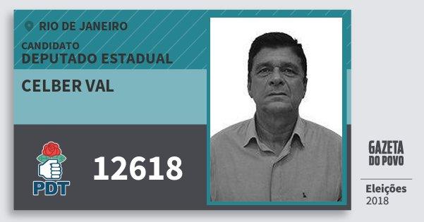 Santinho Celber Val 12618 (PDT) Deputado Estadual | Rio de Janeiro | Eleições 2018