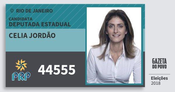 Santinho Celia Jordão 44555 (PRP) Deputada Estadual | Rio de Janeiro | Eleições 2018