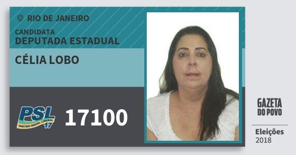 Santinho Célia Lobo 17100 (PSL) Deputada Estadual | Rio de Janeiro | Eleições 2018