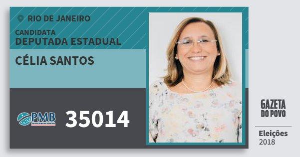 Santinho Célia Santos 35014 (PMB) Deputada Estadual | Rio de Janeiro | Eleições 2018
