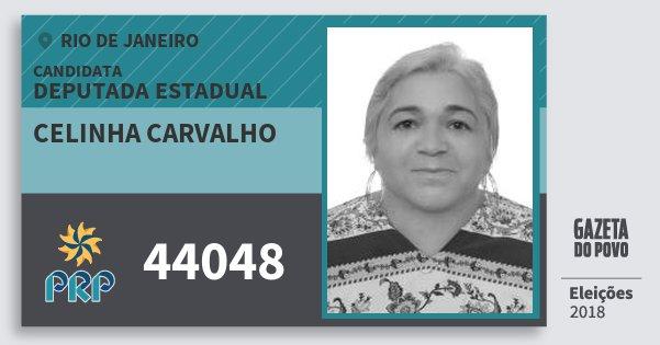 Santinho Celinha Carvalho 44048 (PRP) Deputada Estadual | Rio de Janeiro | Eleições 2018