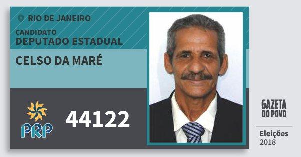 Santinho Celso da Maré 44122 (PRP) Deputado Estadual | Rio de Janeiro | Eleições 2018