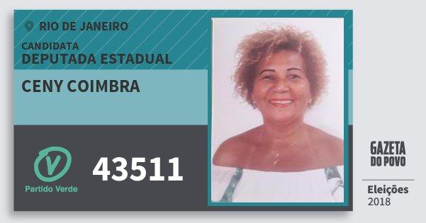 Santinho Ceny Coimbra 43511 (PV) Deputada Estadual | Rio de Janeiro | Eleições 2018