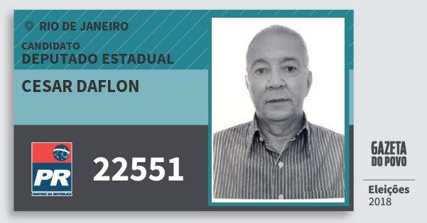 Santinho Cesar Daflon 22551 (PR) Deputado Estadual | Rio de Janeiro | Eleições 2018