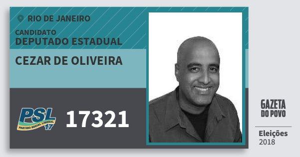 Santinho Cezar de Oliveira 17321 (PSL) Deputado Estadual | Rio de Janeiro | Eleições 2018
