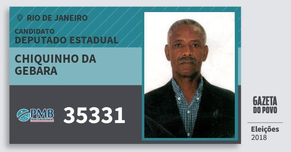 Santinho Chiquinho da Gebara 35331 (PMB) Deputado Estadual | Rio de Janeiro | Eleições 2018