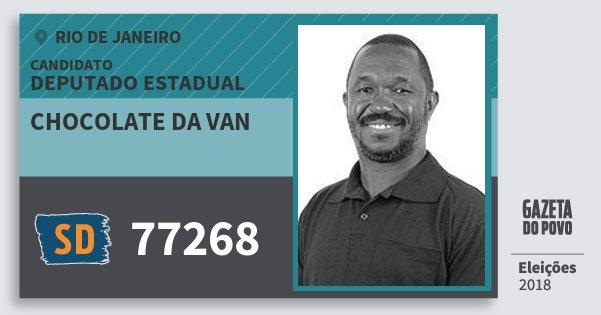 Santinho Chocolate da van 77268 (SOLIDARIEDADE) Deputado Estadual | Rio de Janeiro | Eleições 2018