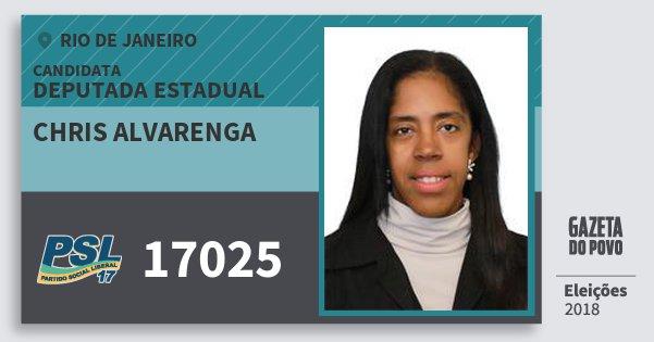 Santinho Chris Alvarenga 17025 (PSL) Deputada Estadual | Rio de Janeiro | Eleições 2018