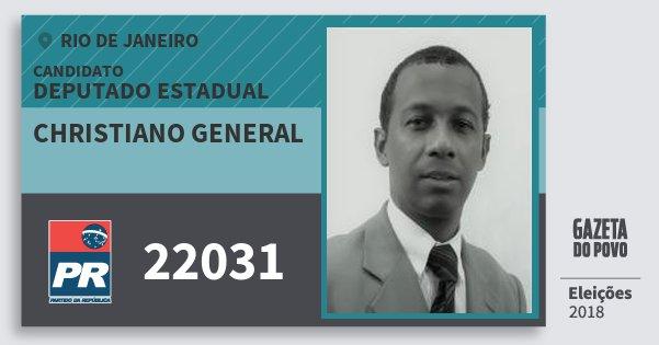 Santinho Christiano General 22031 (PR) Deputado Estadual | Rio de Janeiro | Eleições 2018